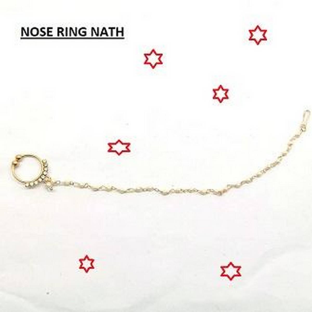 golden chain nose ring for women