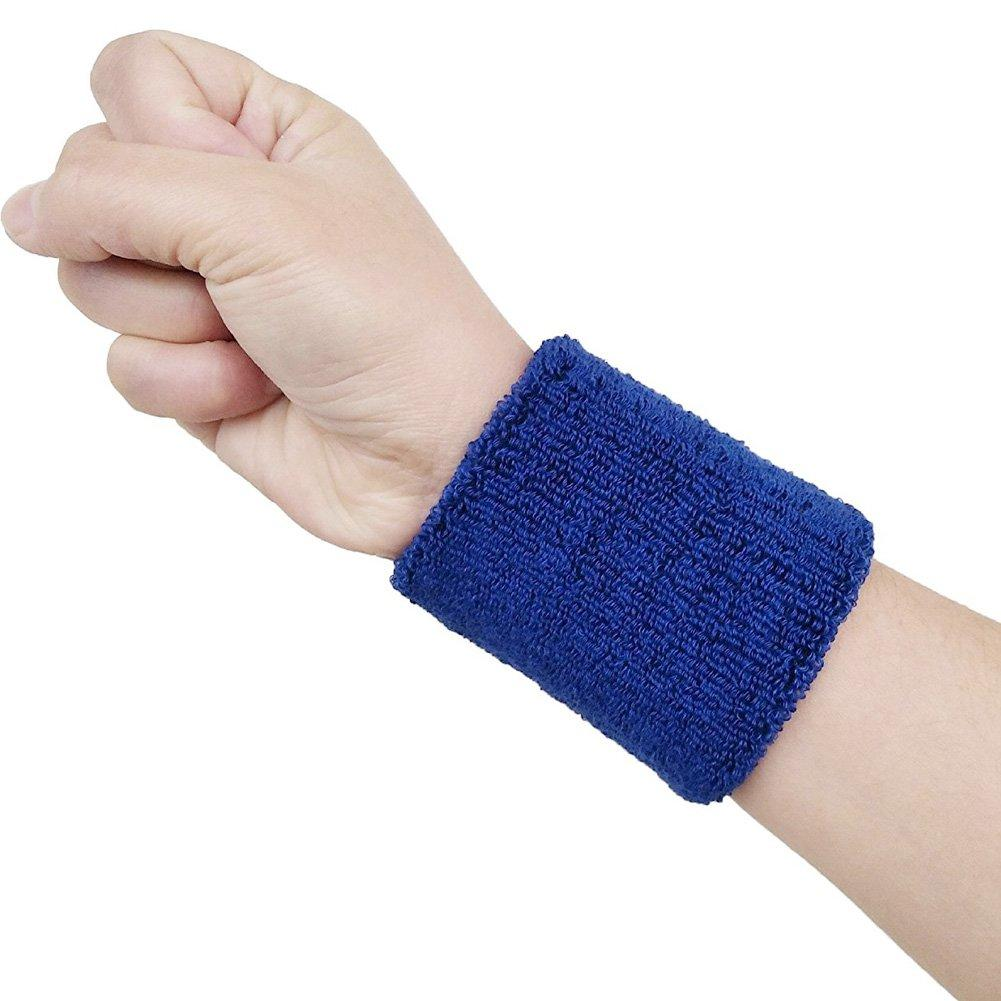Pack Of 2-High Quality Sweat Bands for Wrist Band Men Women 2PCS Colorful Cotton Unisex Sport Sweatband Wristband Wrist Protector Running Badminton Basketball Brace Terry Cloth Sweat Band