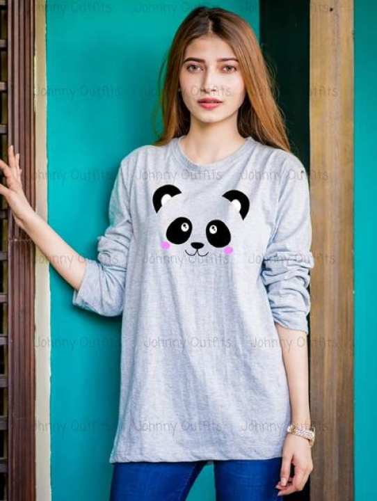 Cute panda Grey Full Sleeve Printed T-shirt For Women Casual Cotton tshirts For Lady Top Tee