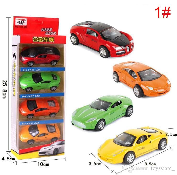 Pack of 4 Pcs - Complete Box Die Cast Metal Pull Back Action Racing Car Set Toys - Kids & Boys Toys Diecast PullBack Car