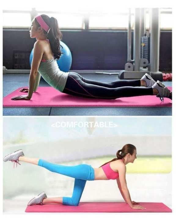 Pink  Exercise Yoga Mat 1,2cm 180x60 NBR -  Yoga Aerobic GYM