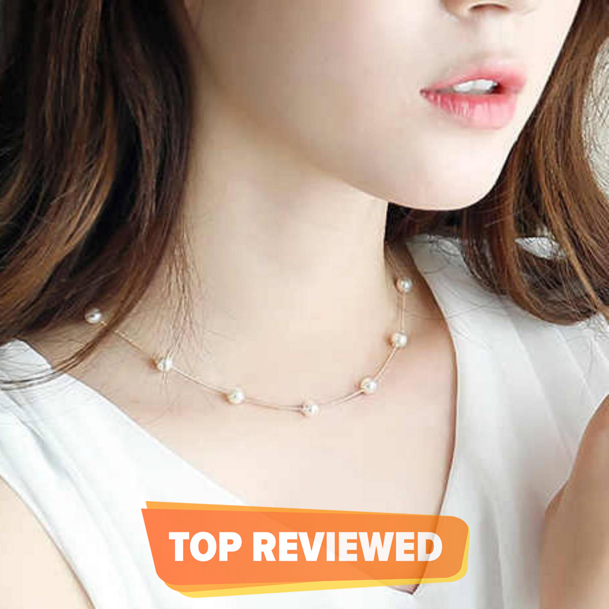 Pearls Bezel White Necklace With Earrings For Girls
