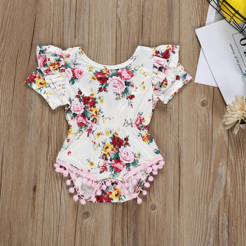 65a3c9954d4 Rainbowroom 2019 Infant Baby Girls Short Sleeve Ruffles Floral Print  Tassels Romper Bodysuit