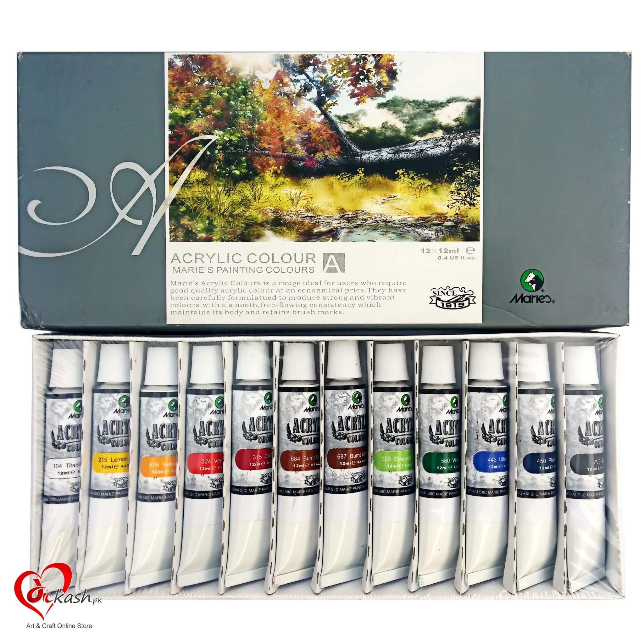Marie's Acrylic Painting Colors - 12 colors set