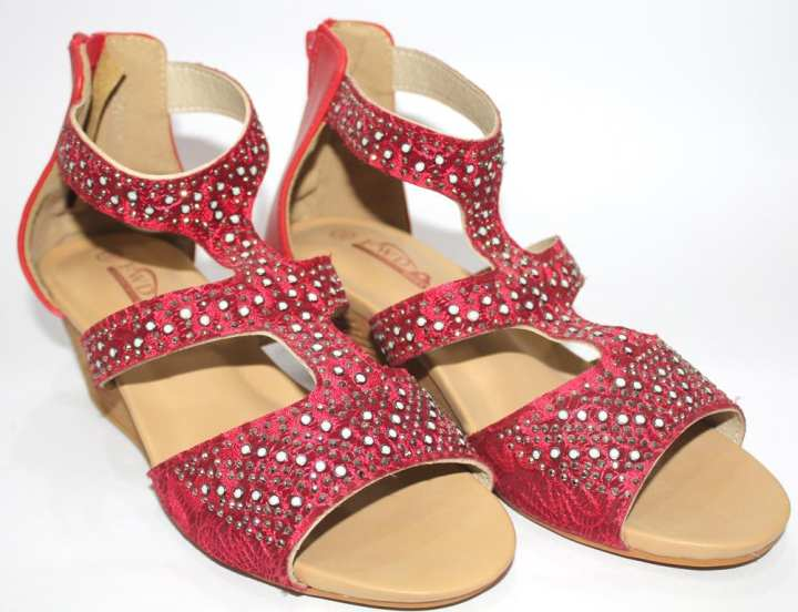 Red Heels for Women with Beeds