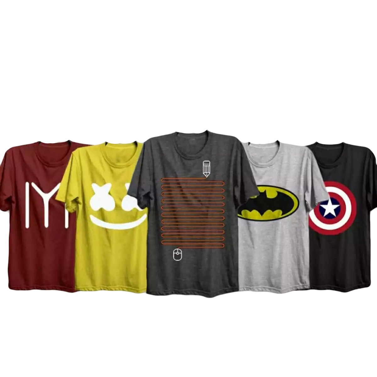 The Vintage Clothing Pack of 5 casual printed premium T-shirts