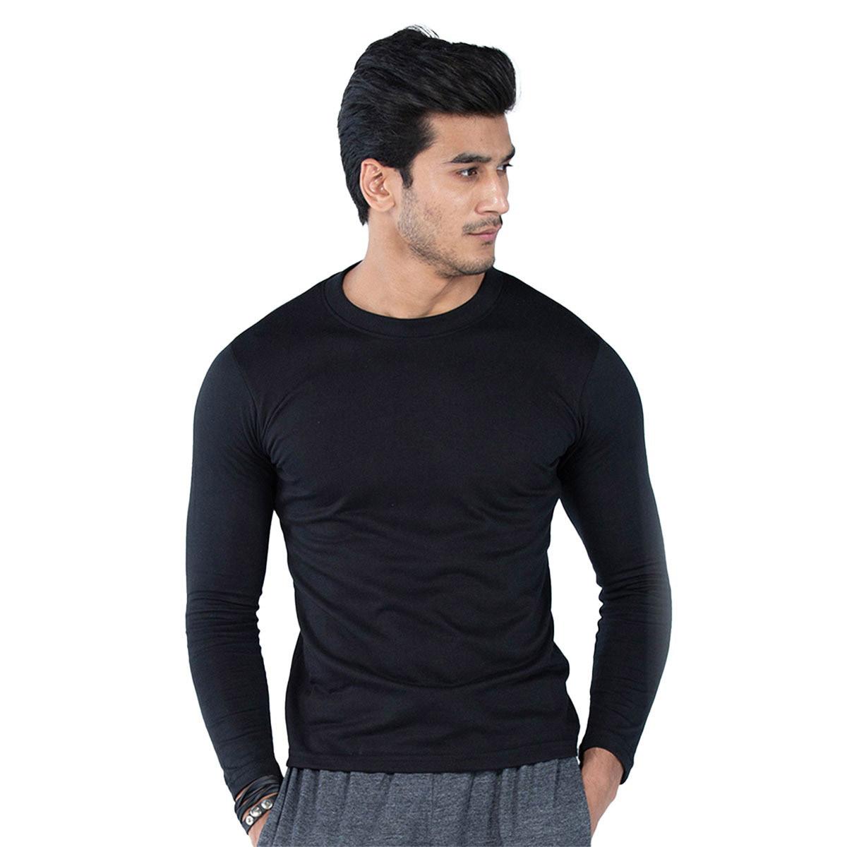 Select by  Basic Round Neck Full Sleeves T-Shirt For Men - Black