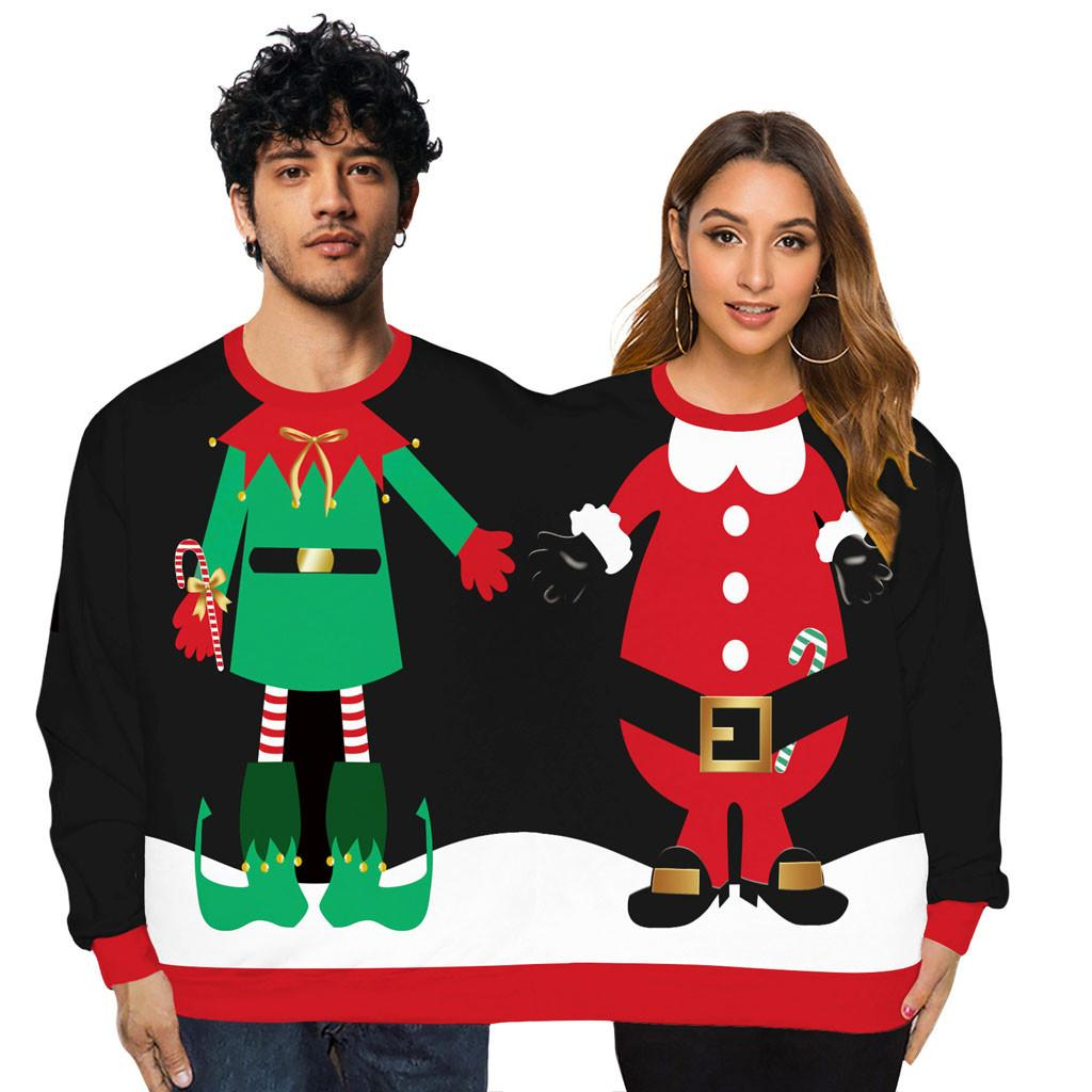 【COD】Two Person Ugly Sweater Xmas Couples Pullover Novelty Christmas Blouse Top Shirt