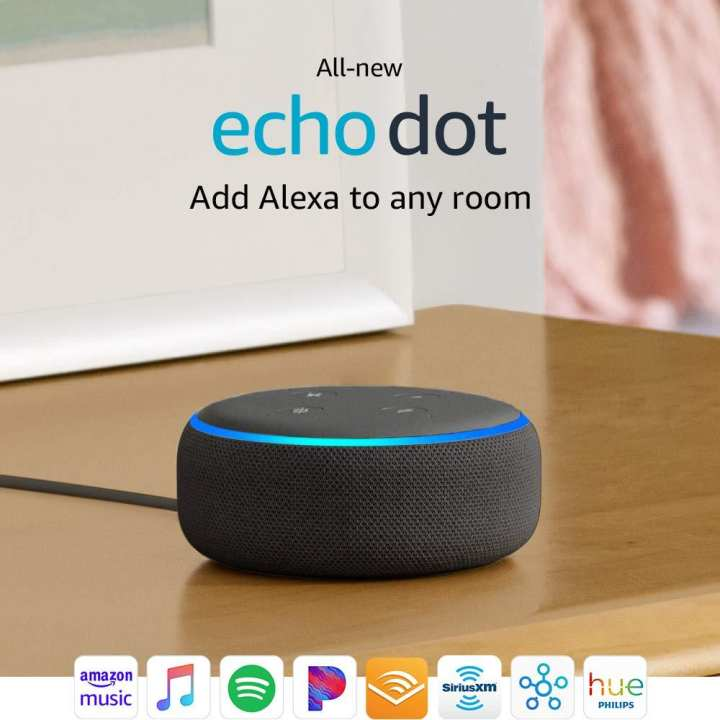 Latest Amazon Echo Dot (3rd Gen) - Smart Bluetooth and wifi Artificial intelligence speaker with Alexa - Charcoal