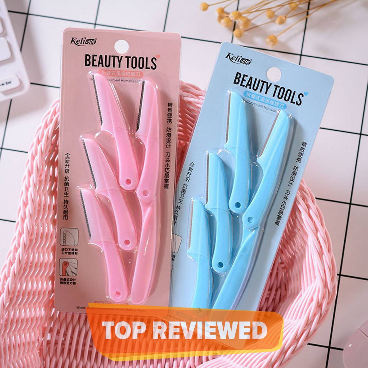 Tinkle Eyebrow Razor Pack of 4 Foldable Eyebrow Facial Hair Removal, Shaper, and Trimmer in New Design (Blue & Pink).