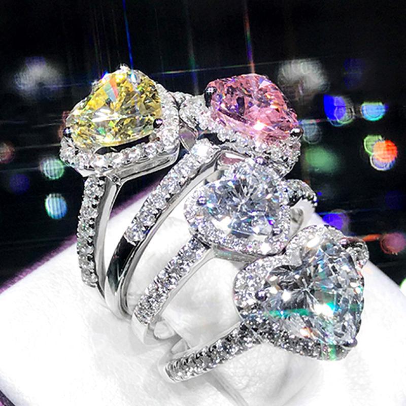 Fashion SS Wedding Engagement Collection Platinum Plating White, Pink & Yellow Love Heart Shape Full Zircon Rhinestone Diamond Rings For Girls & Women - XEYJZ330