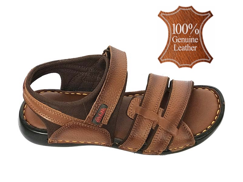 Pure Leather Sandal For Men - Color Brown
