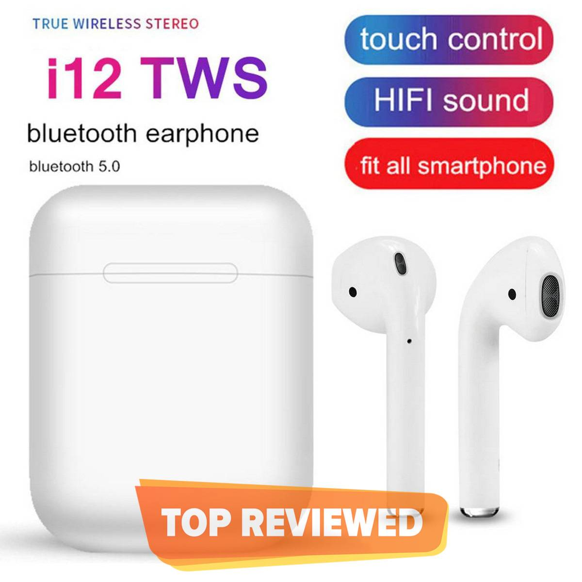 High Quality i12 TWS Touch Key Sensor Universal Mini Wireless Earphone Bluetooth 5.0 Headset Sports Earbuds Airpods With Charging Dock / Base for Android IPhone