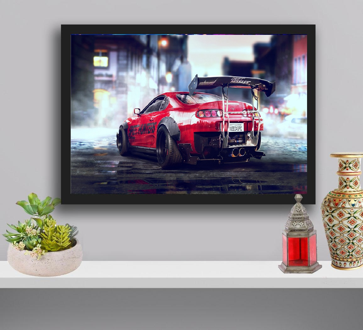 Need For Speed Gaming Poster Wall Hanging Glass Photo Frame in Premium Glossy Photo Paper A4/ A3 size for Home Decor and Decoration Accessories