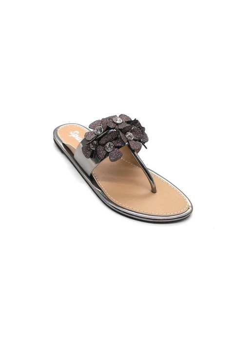 Grey Flat Slipper For Women 3142/015
