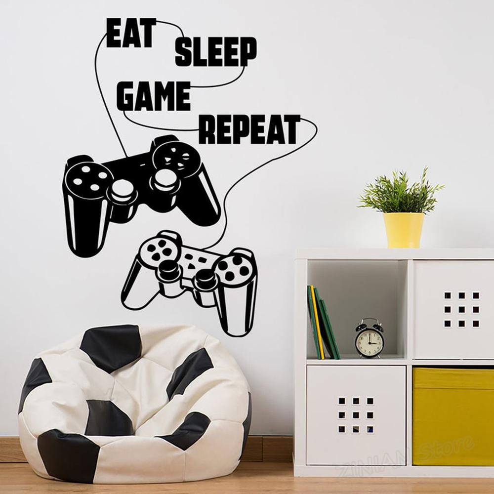 Eat Sleep Game Repeat Wall Sticker Decor for Gaming Sports Video Games lovers Boys Girls Club Room Bedroom - Black color