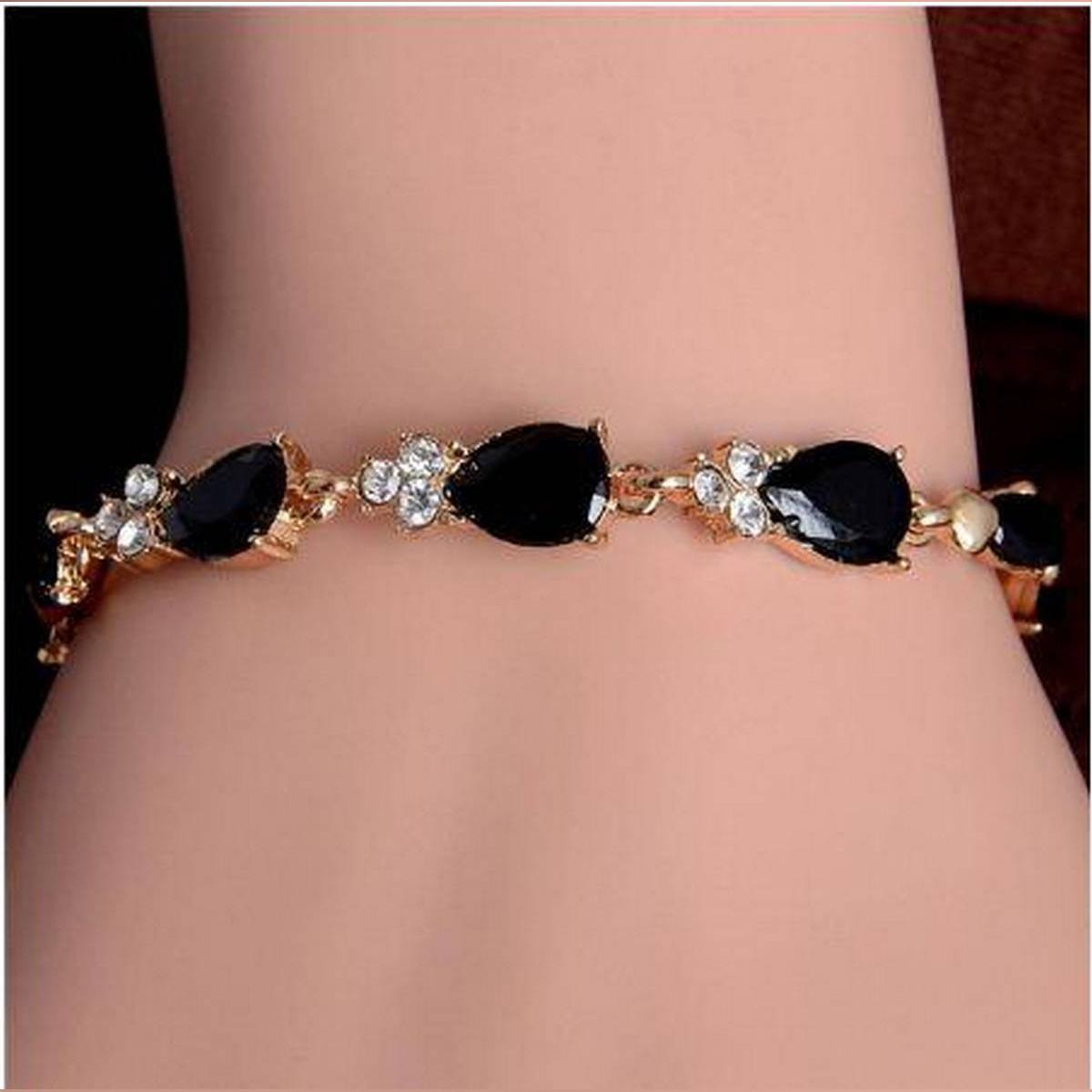 girls Bracelets Ladies women Female Bracelets Casual Fashion Fine Jewelry Bracelets Love Romantic Beautiful Water drop Austrian Crystal Bracelet For Women Wedding Party Jewelry