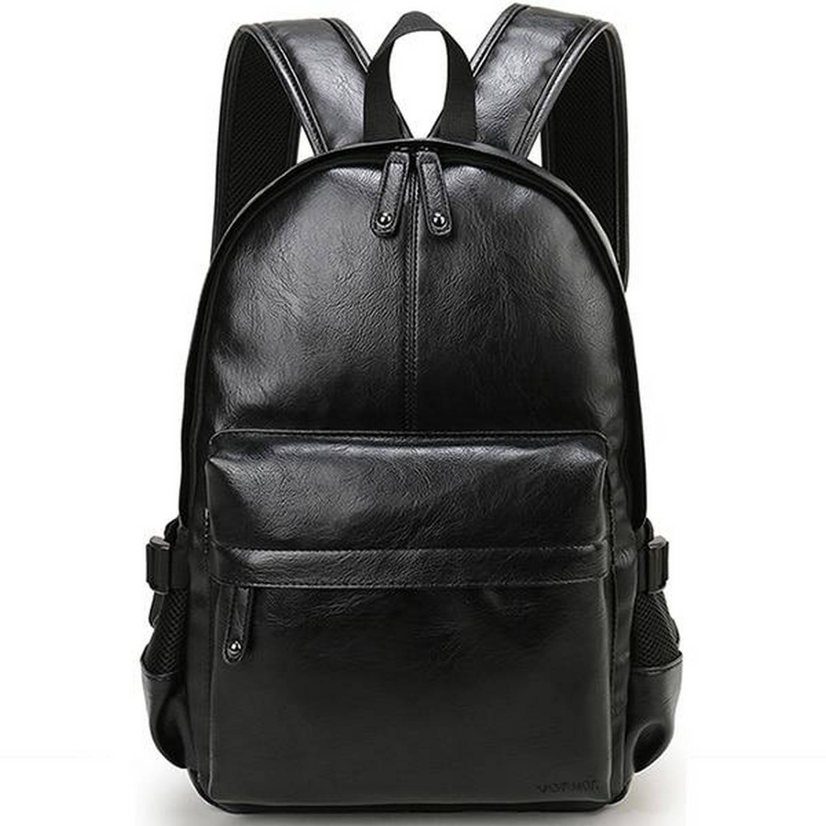 Pu Leather College Bag for Boys & laptop Backpack (Black & Coffee color )