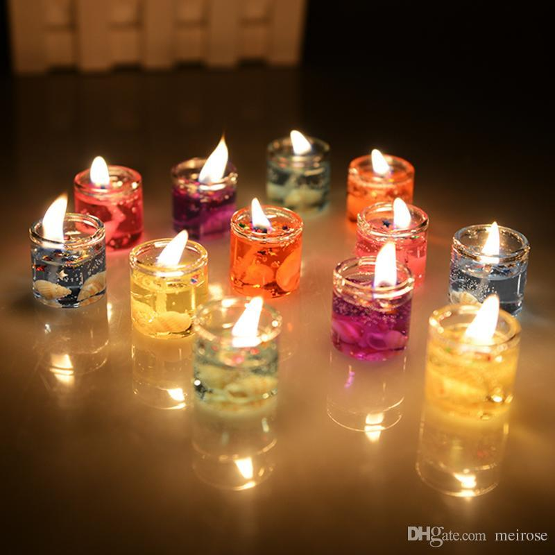 13b37f8a79 Romantic Floating Home Decoration Candle Smokeless Ocean Seashell Glass  Jelly Tealight Candles in Glass Holder-
