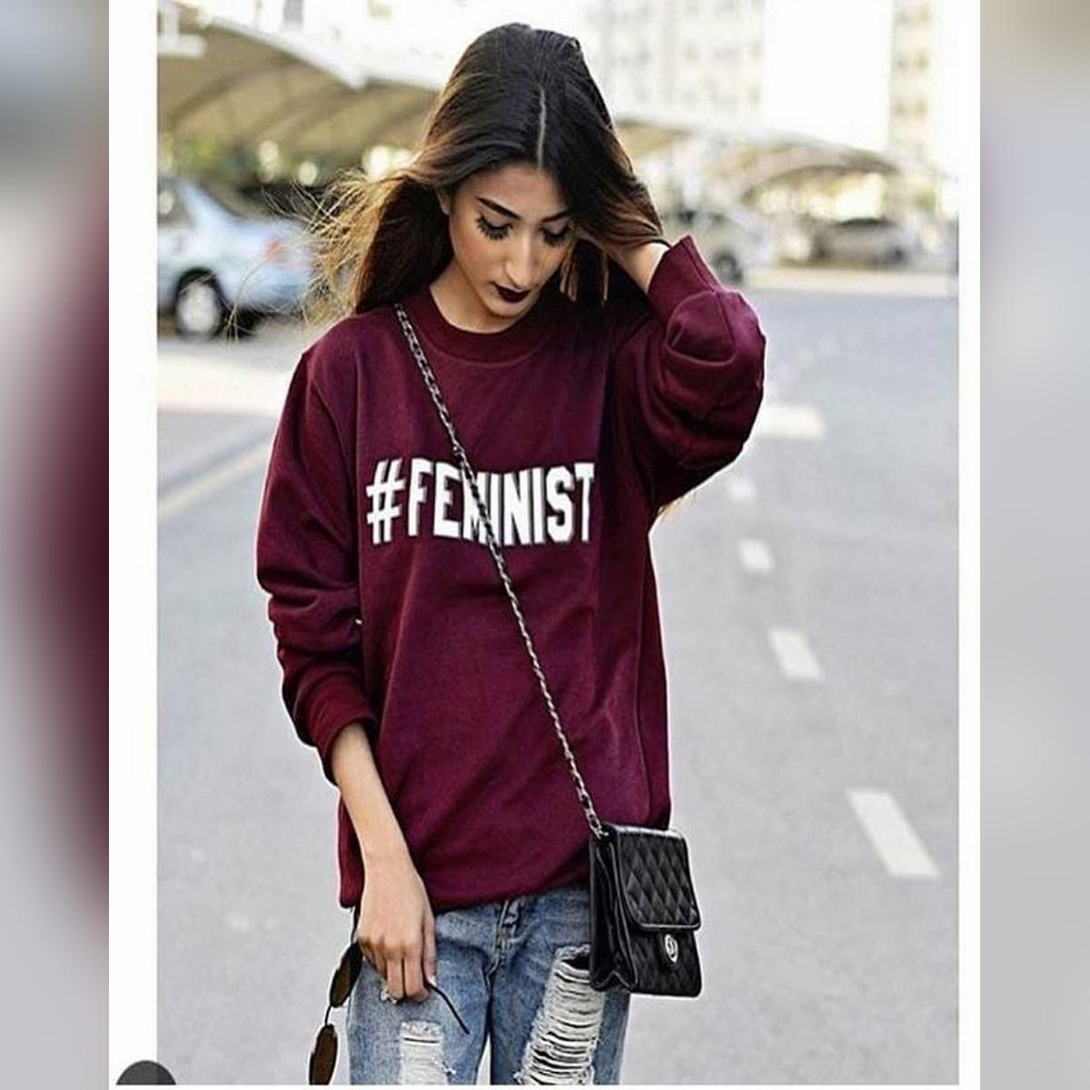 Maroon Printed TShirt Cotton Feminist TShirt Top For Women