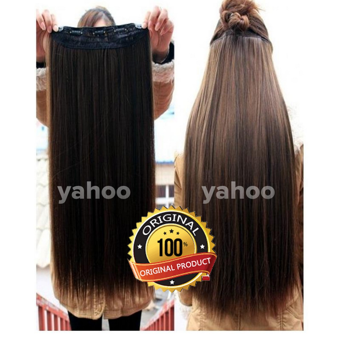 Dark Brown Wig Extension Hair Styling Very Long Hair Extension for Women With 5 Clips Strongly Attached No Hair Fall Washable Reuseable - Brown Makes hair look gorgeous Easy to use Makes hair look trendy