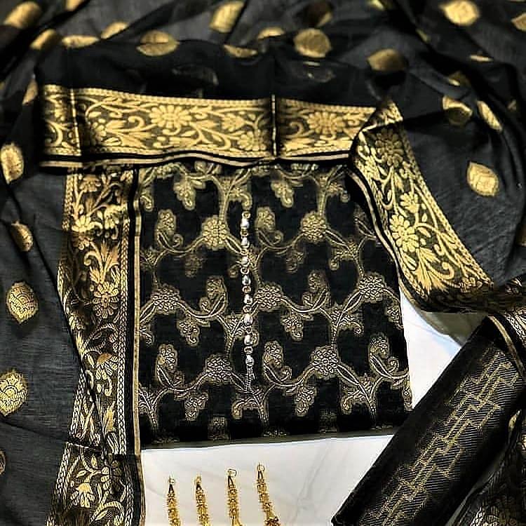 Banarsi 3 pcs suit  Pure Cotton Jacquard Jamawar Style (Black)