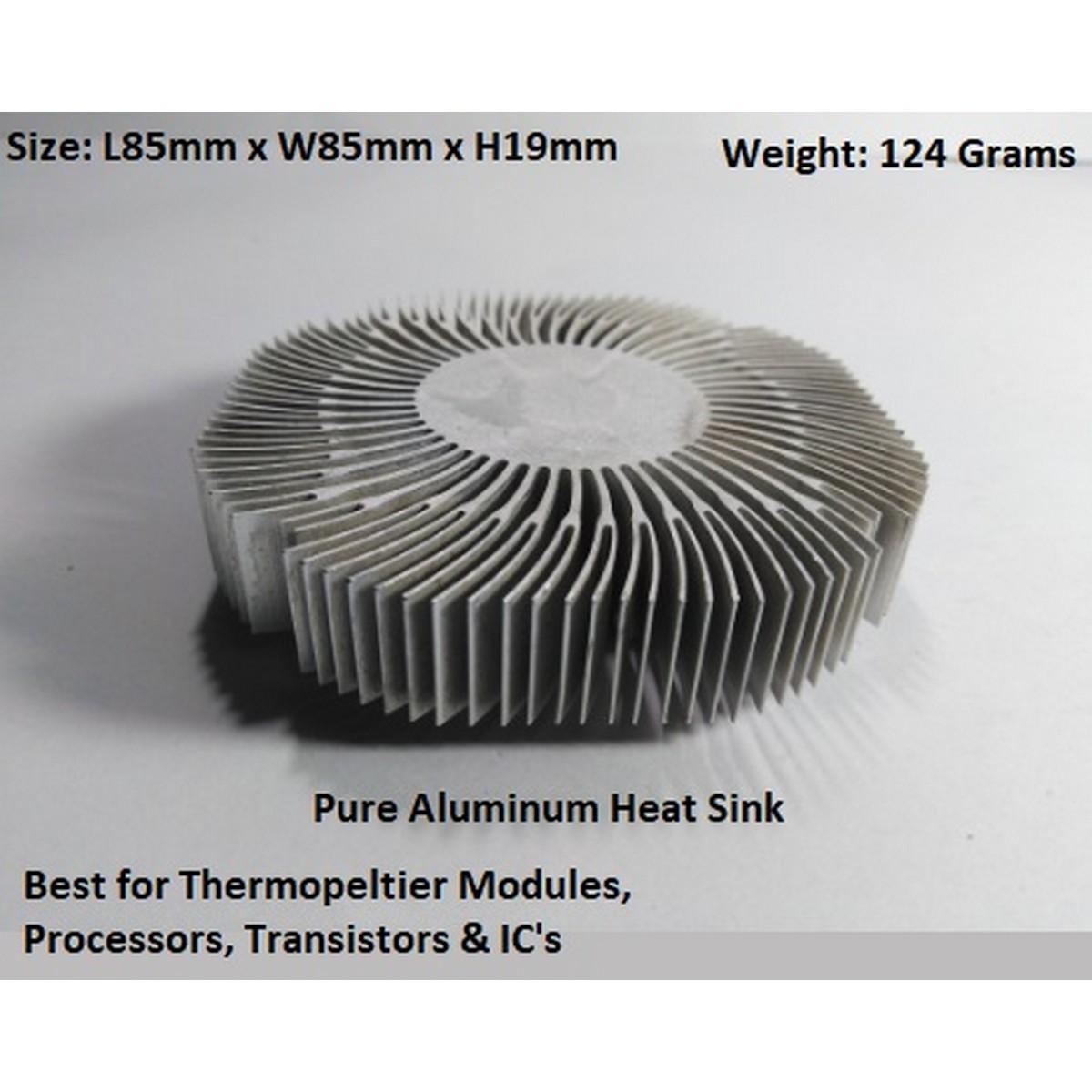 High Quality Large Pure Aluminum Heat Sink Cooler Cooling fin - Heatsink for Peltier, IC, LED's Transistor, RAM - Size: L85mm x W85mm x H19mm