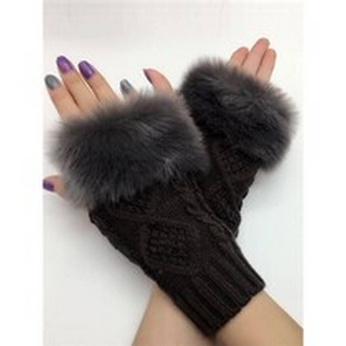 Wool Gloves Fancy Winter Women Grils wool glovs Gloves Knitting Woo wool glovs l Keep Warm Short Mitten Fingerless Lady Girl Half Finger Gloves Rabbit Lady hand Gloves KAAA1113