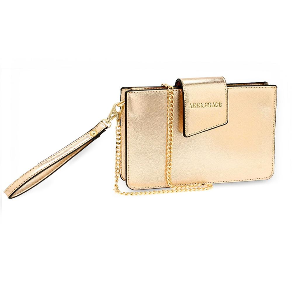 Silk Avenue - Gold PU Faux Leather Cross Body Shoulder Bag With Wristlet  For Women - b49832cf29aa0