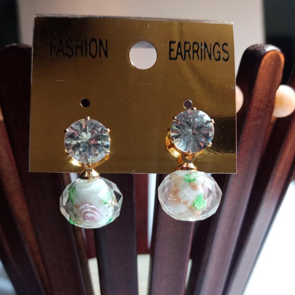 471d45fdefa0 Women and Girls Flower Rhinestone Glass drop Earrings Crystal Ball Earrings
