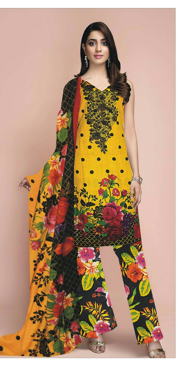 Classic Lawn Neck Embroidery Suit With Chiffon Dupatta