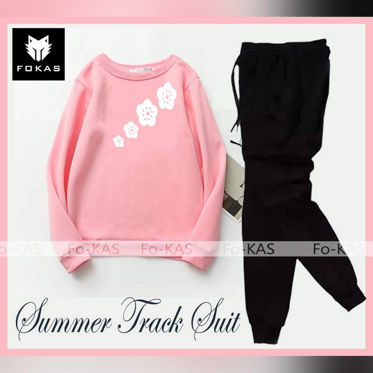 Flowers Printed Summer Track Suit Ribbed T-Shirt & Trouser Elegant Tracksuit for _Girls & _Women Trendy Wear