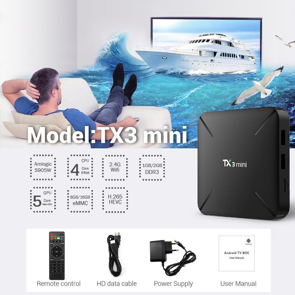 TX3 WiFi Smart TV BOX HD Media Player mini Android TV Box HD Android 7 1  Amlogic S905W Quad Core 2GB+16GB DLNA