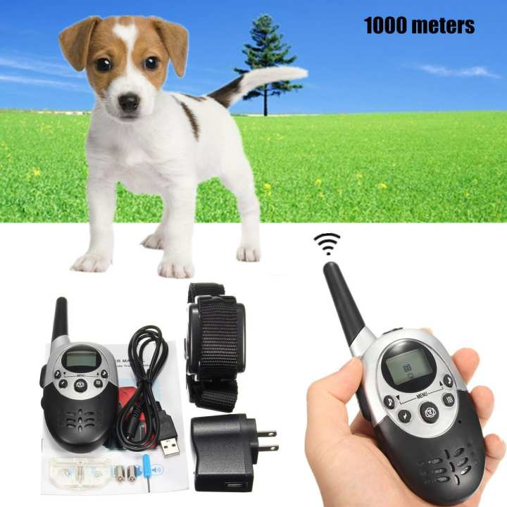 Waterproof Remote Electric Anti Bark Shock LED 1000M Pet Dog Training Collar kit