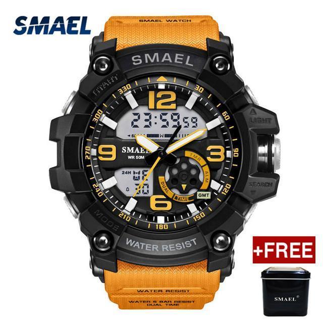 [Free One Original Box] Military Watches Army Men's Wristwatch LED Quartz Watch Digtial Dual