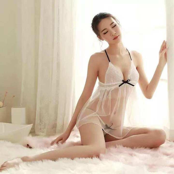 White Net Transparent Nighty for Women