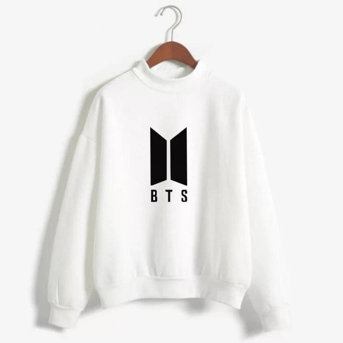 BTS Sweatshirt White  Fleece Long Sleeves Ribbed Cuff Printed Winter Wear sweats And Hoodies For Women Export Quality