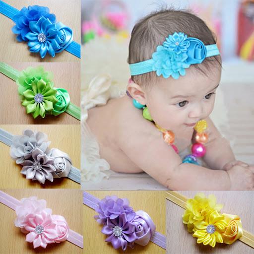 3 pcs kids baby  headband flower lace rhinestone newborn headbands for flower hairband children girls hair accessories headwear