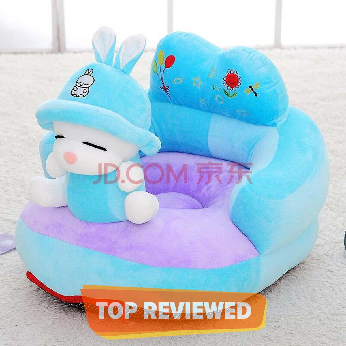 Baby's Cute Blue Animal Cartoon Plush Toys Support Chair Infant Learning To Sit Removable & Washable Baby Soft Seats Sofa