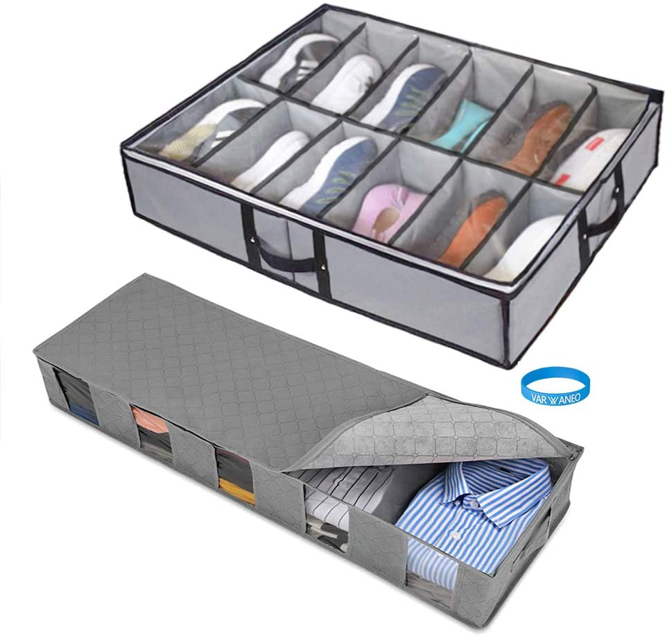 Pack of 2 -12 Shoes Storage Under Bed Closet with  Underbed Storage Bag Home Storage Organizer Under The Bed Organizer Fits for Kids Men & Women Clothes