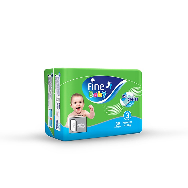 Fine Baby Diapers, Size 3, Medium 4–9kg,  Pack of 36 diapers