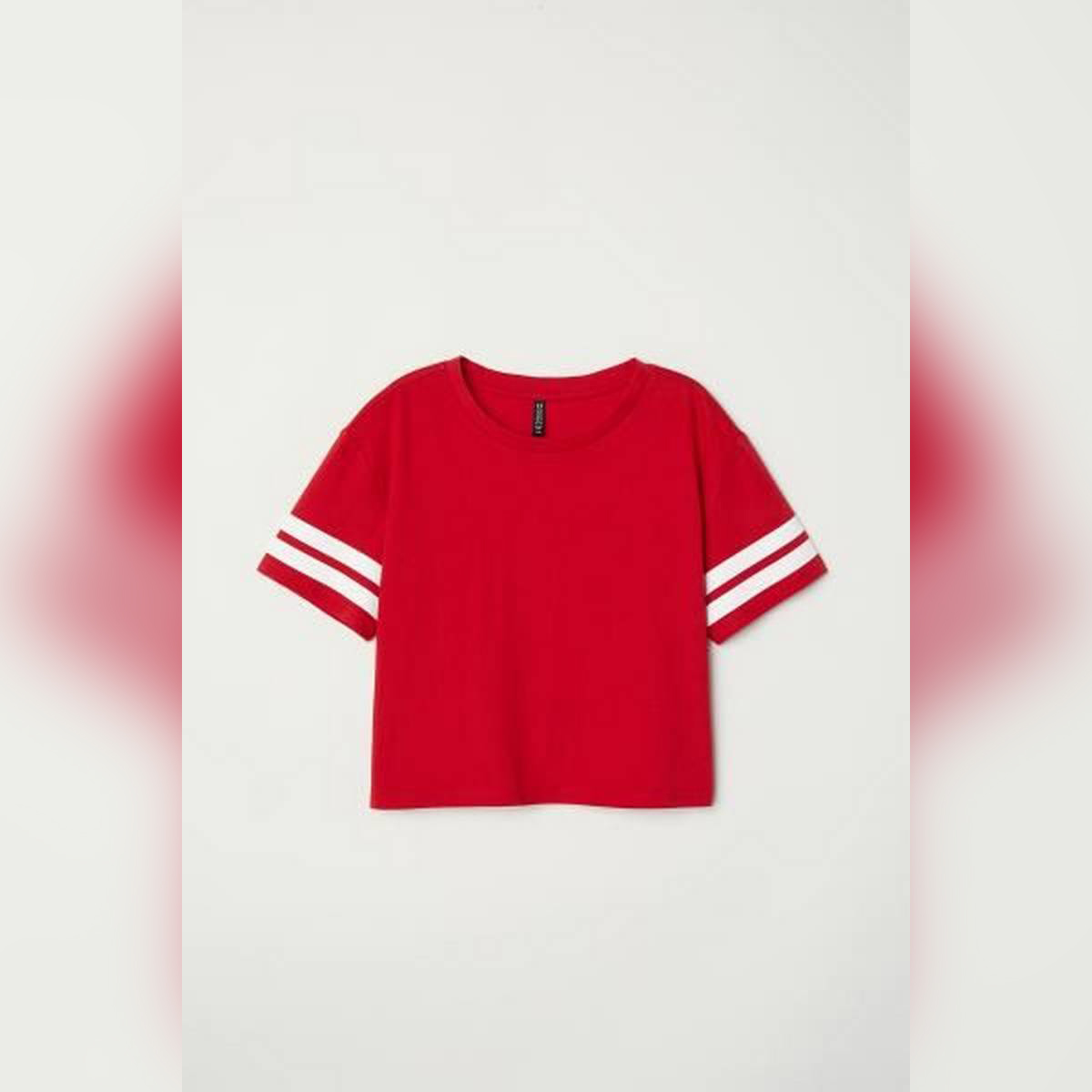 Sober Red crop tee white stribe womens By sober outfitters