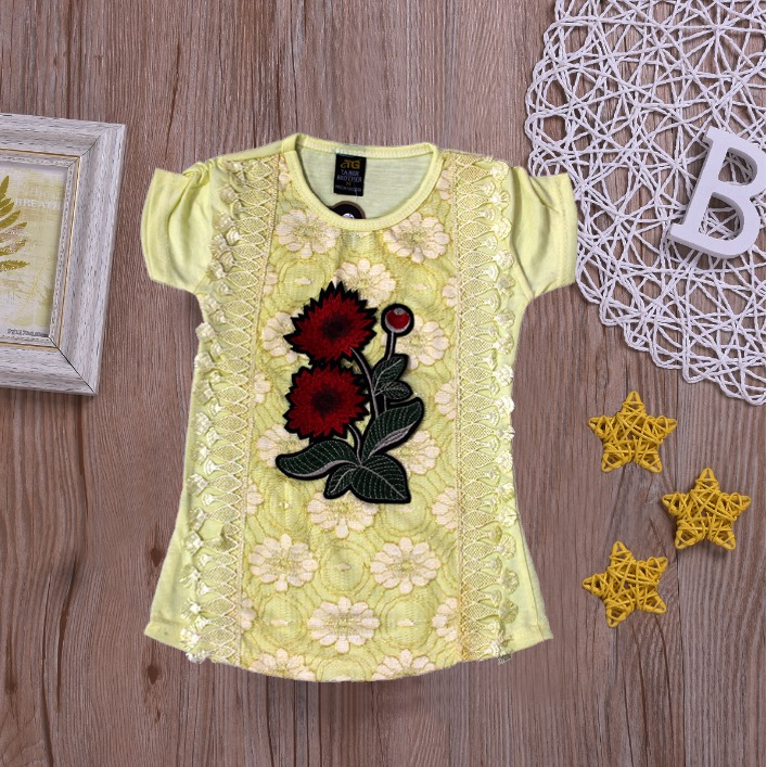 Rose Flower Lace Top For Girls