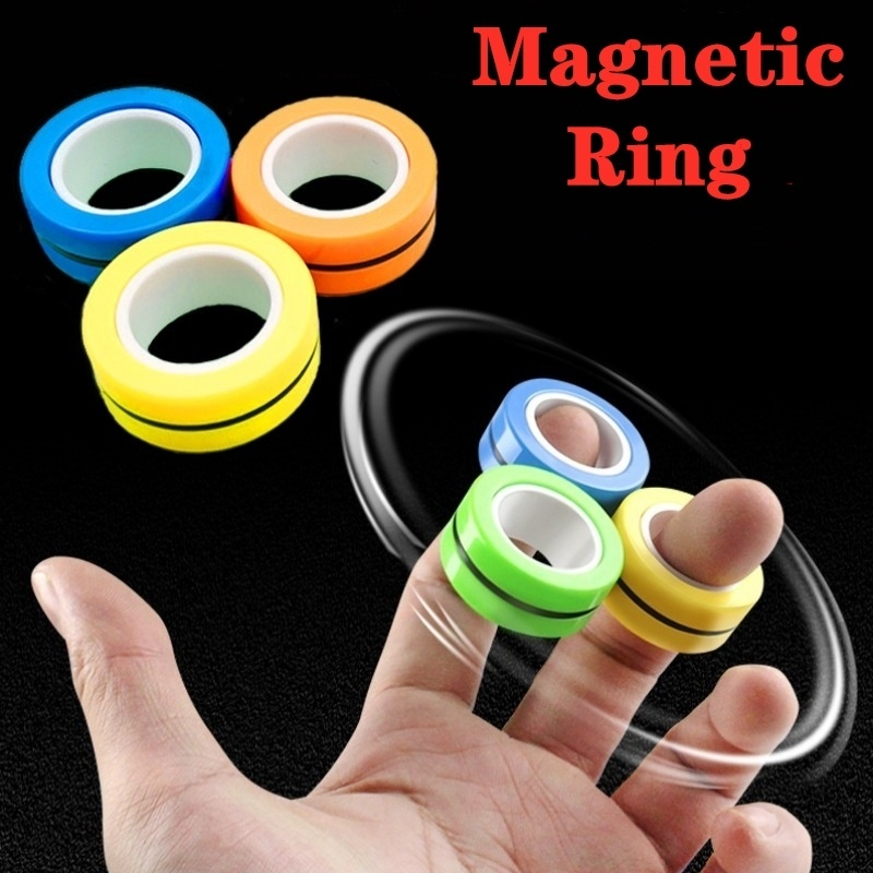 Finger Ring Magnetic Stress Relief Spinner Toy (PACK OF 3)