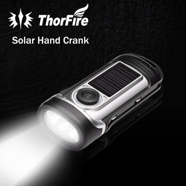 ThorFire Solar Powered Hand Crank Waterproof Torchlight LED Emergency Flashlight