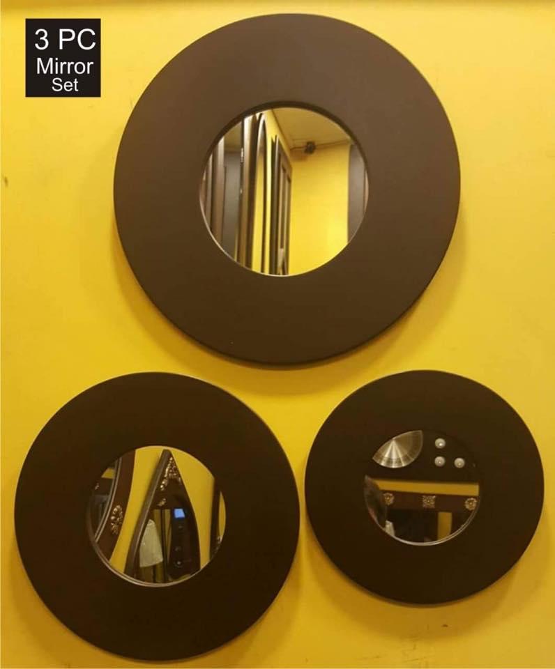 3 Layer Round Shape Wall Mirror - Wooden