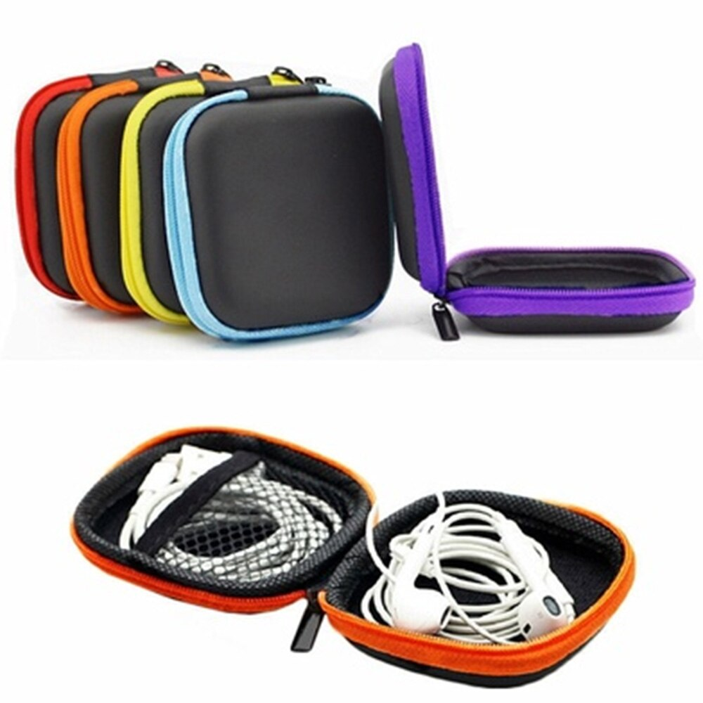 PU Leather Zipper Storage Hand Carrying Case For Earphones/ Handsfree And Other Accessories