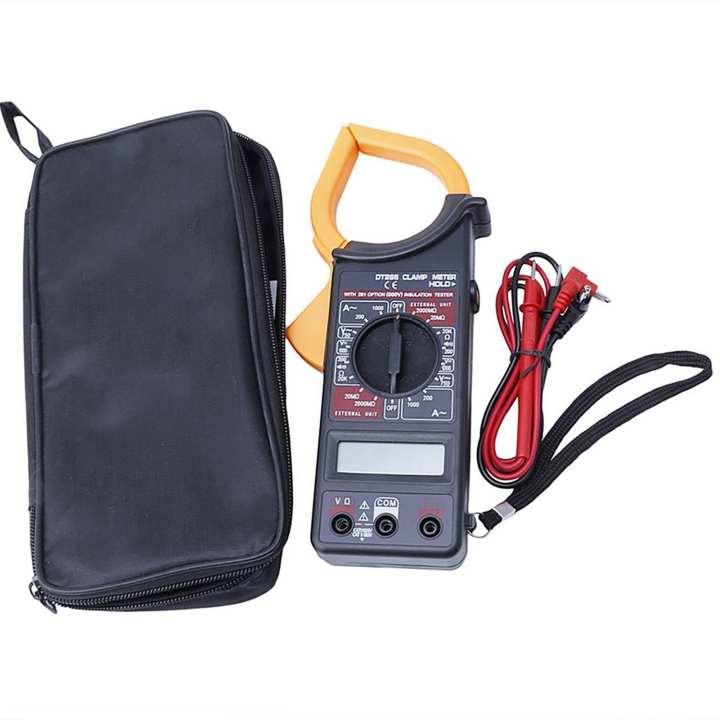 ISC Clamp Meter DT-266 Digital Clamp Multimeter DT266 For AC DC Electricity Ampere Measuerment Insulation Tester + Carry Case + Battery Digital Multimeter