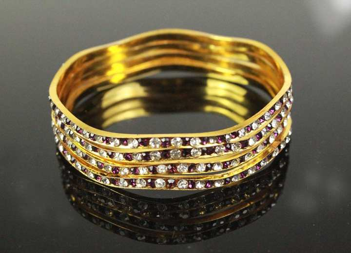 Pack Of 4 – Fancy Golden Bangles With White and Purple Stones