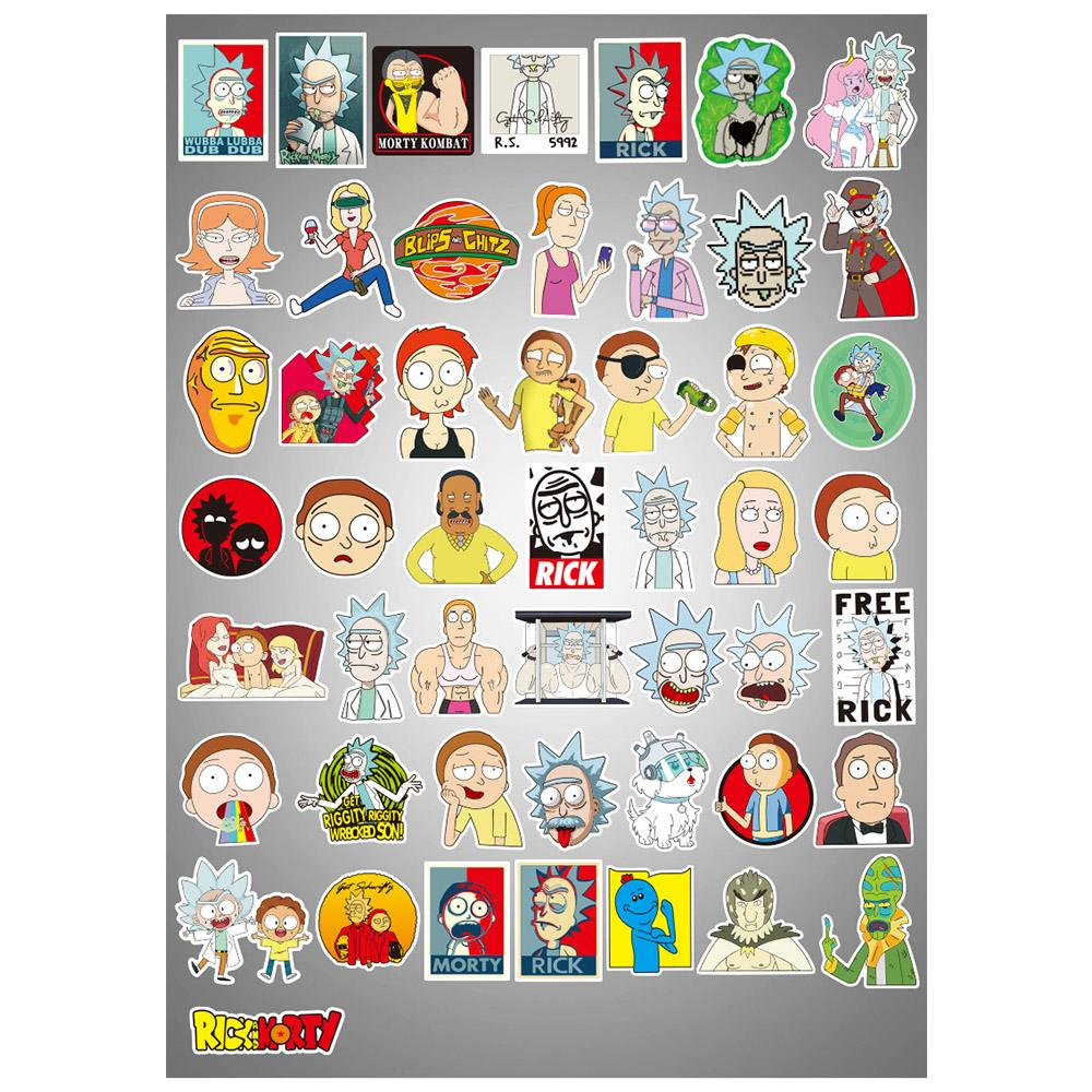 Rick and Morty Mixture Sticker Decals Packs for Water Bottle Laptop Cellphone Skateboard Bicycle Motorcycle Car Bumper Luggage Travel Case 50 Pcs